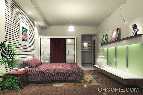 Simple Bedroom with Wall Shelves Idea