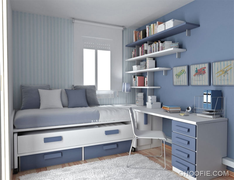 Thoughtful Teen Room Layout with Charcoal Grey Color