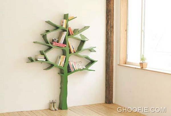 Tree Green Wooden Book Shelf Design