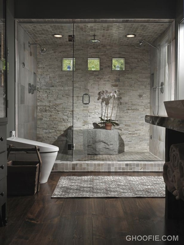 Unique bathroom with stacked stone wall interior design for Different bathroom ideas