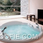 Contemporary Home Spa Design Ideas with Fireplace