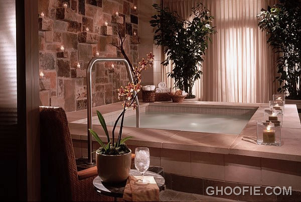 Elegant home spa room design ideas with stone walls for Spa ideas for home