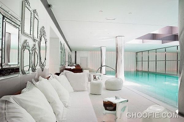 Lavish Home Spa Design Ideas with White Sofa