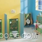 Calm Colors Retro Cute Kids Bathroom Design