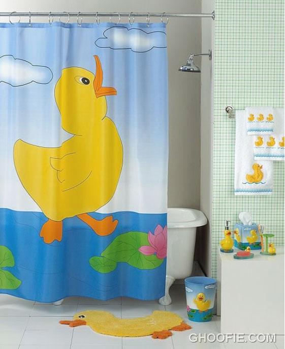 Funny Duck Shower Curtain For Kids Bathroom Interior Design Ideas