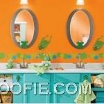 Orange Wall Color Kids Bathroom Decorations