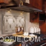 Artistic Tile Kitchen Backsplash White Canisters Glossy Pan Modern Stove