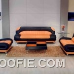 Classical Orange and Black Leather Sectional Sofa