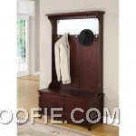 Contemporary Merlot Hall Tree with Storage Bench - A contemporar
