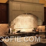 Creative Rhombus Tile Kitchen Backsplash Range Hood Marble Kitchen Countertop