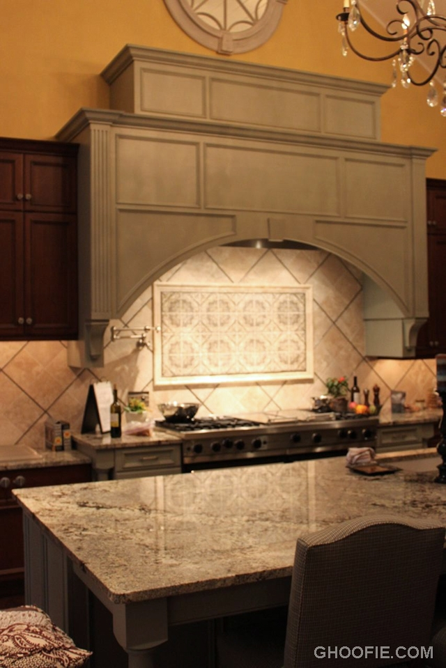 Creative Rhombus Tile Kitchen Backsplash Range Hood Marble Kitchen Countertop Interior Design