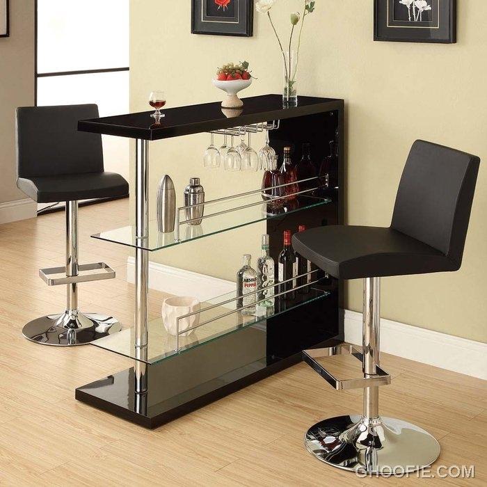 51 Cool Home Mini Bar Ideas: Dark Contemporary Home Bar Cool Barstools Mini Bar