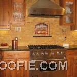 Fascinating Brick Tile Kitchen Backsplash Range Hood Modern Stove
