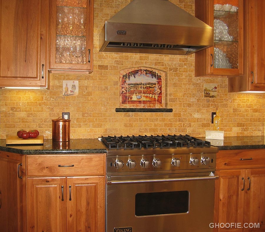 Fascinating brick tile kitchen backsplash range hood Backsplash tile for kitchen