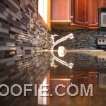 Futuristic Tile Kitchen Backsplash Stainless Steel Tap Wood Kitchen Cabinet