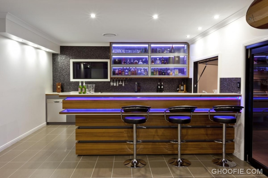 Impressive Hidden Lights Dark Barstools Contemporary Home Bar Wine Bottles Interior Design Ideas