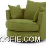 Leon Swivel Loveseat Basil Green Sofa