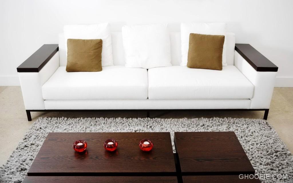 Minimalis White Leather Sofa