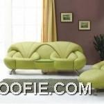 Modern green leather sofa with two armchairs