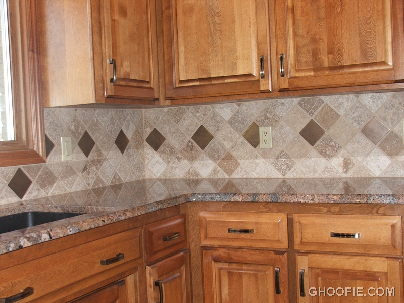 Natural wood kitchen cabinet eccentric tile kitchen for Can you paint tile backsplash in kitchen