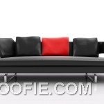 Real black and Red Pillow Leather Sofa