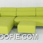 Venezia contemporary green leather 4 pc sofa