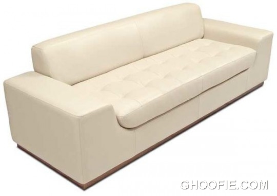 White Leather Tufted Wood Base Sofa in Media Room Interiors and Family Room Decor