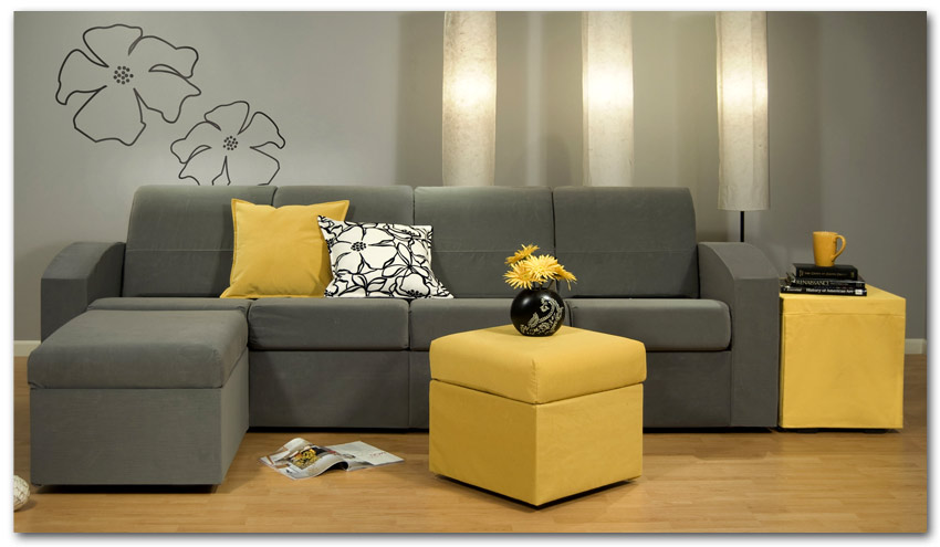 Amazing Contemporary Grey Small Sectional Sofa Yellow Coffee Table Interior Design Ideas