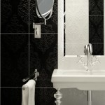 Black Tile Wall Minimalist Mirror Toilet Cabinet Design