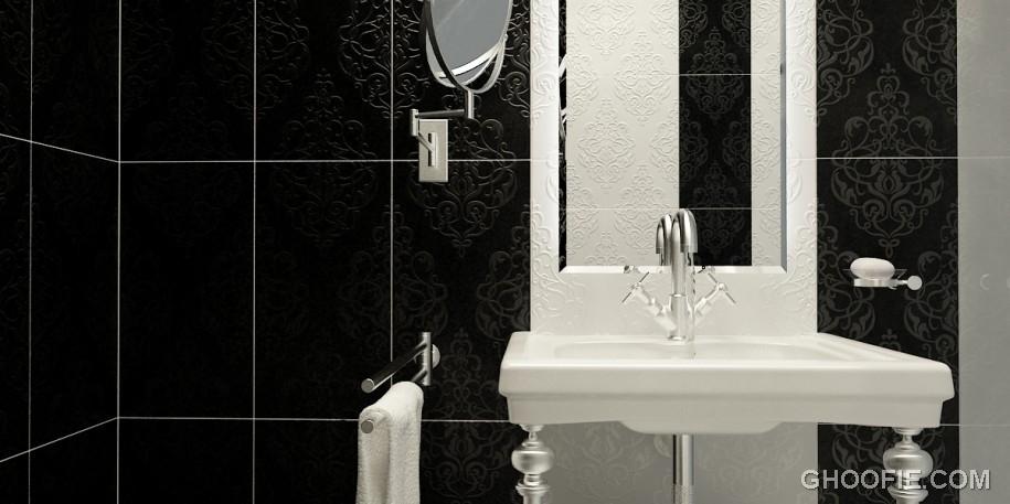 Black Tile Wall Minimalist Mirror Toilet Cabinet Design