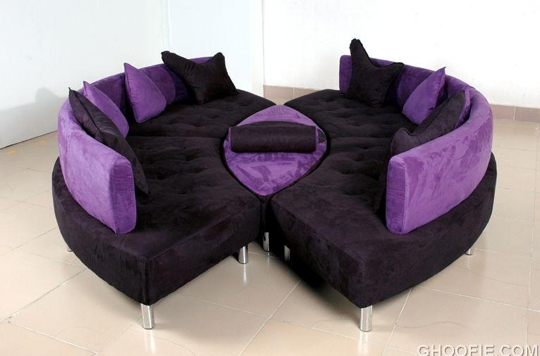 Black and Purple Leather Sofa