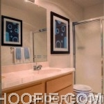 Californian Bathroom Mission Design Frameless Mirror White Counter