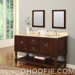 Classic Bathroom Mission Design Double Sink and Wall Mirror