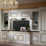 Classic Italian Kitchen Design Crystal Chandelier Dark Kitchen Backsplash