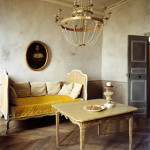 Classic Medieval Age Style Interior Design Blog Sofa Table and Chandelier