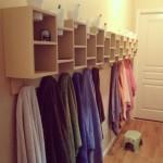 Colorful Towels Cubby Towel Storage Bathroom Wooden Floor Tiny Stool