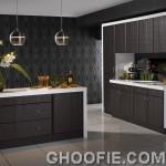 Dark Oak Reliability Door Design Kitchen Cabinet Patterned Wall