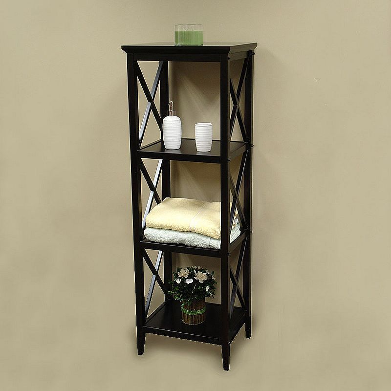 Bathroom Cubby Shelf: Simple Classic Dark Wood Towel Storage