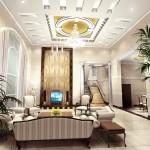 Luxurious Modern style Home Interior White Sofa Spacious Room