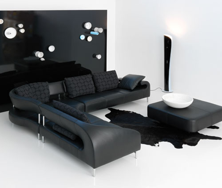 Luxury black leather sofa design