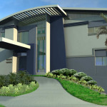 Marvelou Gray Modern Style House Design Natural Green Lawn Ideas