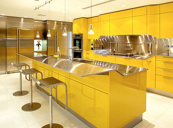 Marvelous Yellow Color Small Kitchen Island Ideas Marble Floor