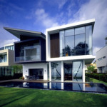 Minimalist Modern House Design Natural Atmosphere Green Lawn and Pool