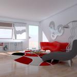 Minimalist Modern Style Home Interior Red Sofa Grey Lounge Design