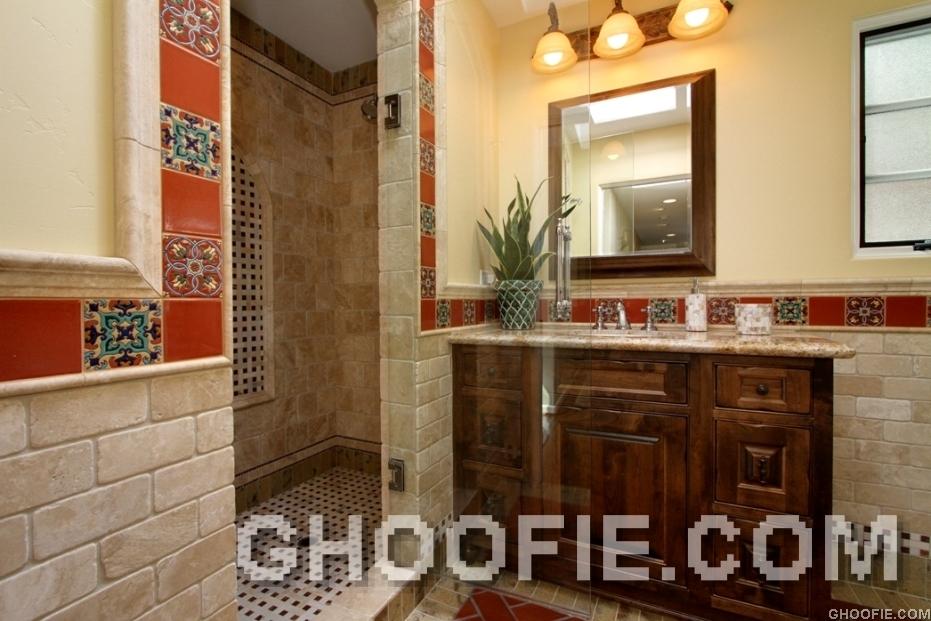 Modern Bathroom Design Trevertine Tile Wall Bathroom Mission