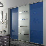 Modern blue bedroom sliding closet doors