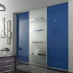 Modern blue bedroom sliding closet doors