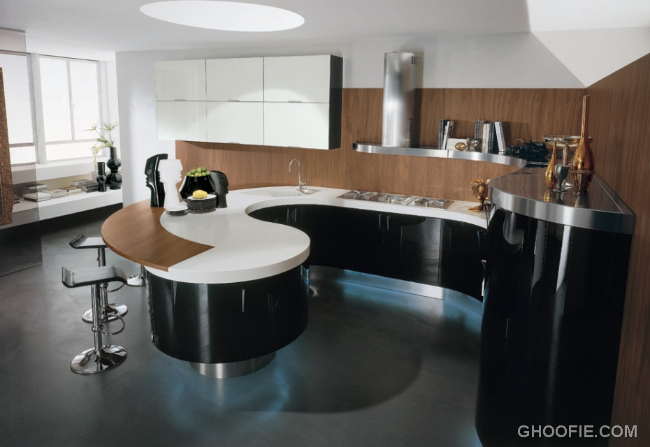 Modern Italian Kitchen Design Curved Kitchen Island Modern Bar Stool Interior Design Ideas
