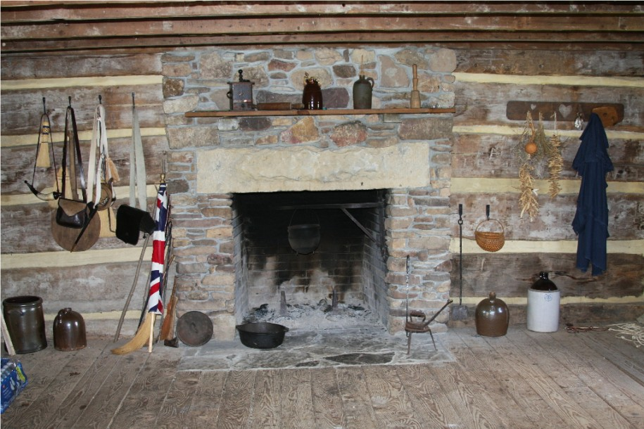 Natural Stone Fireplace Cooking Fireplace Crane Wooden Floor