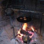 Old Dark Kettle Cooking Fireplace Crane Hot Flame Rustic Fireplace Design